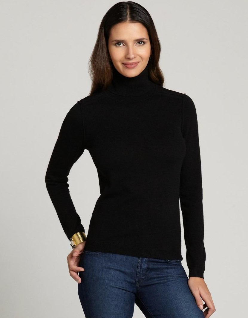 мода 2019-2020 года фото в женской одежде: черная водолазка