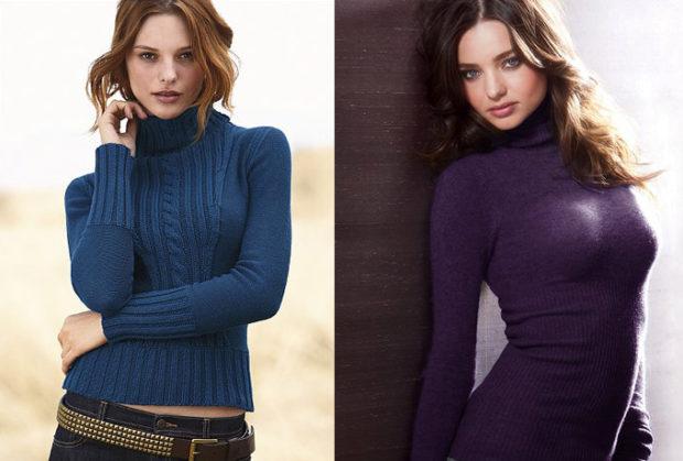мода 2019-2020 года фото в женской одежде: водолазка синяя бордовая