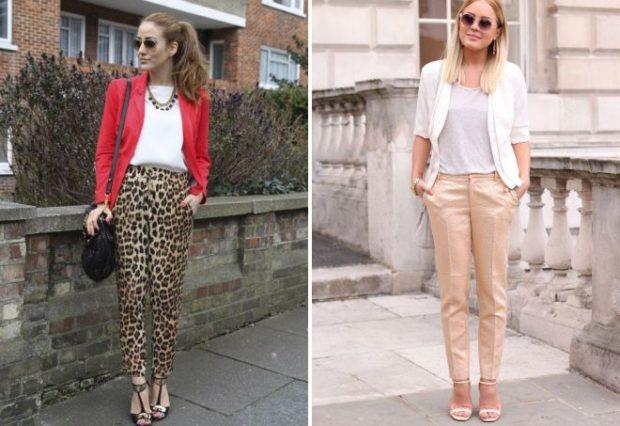 штаны леопардовые по красный пиджак бежевые брюки под белый жакет