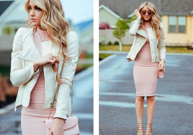 розовые платья под косуху белую
