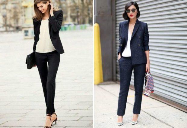 офисный стиль черные брюки и пиджак