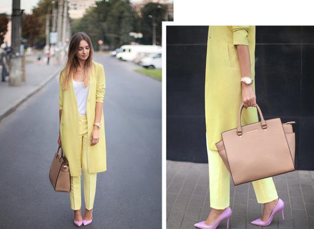мода весна лето 2018 для женщин после 30: желтые брюки прямые пиджак удлиненный