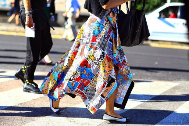 мода весна лето 2018 для женщин после 30: юбка асимметрия поп-арт