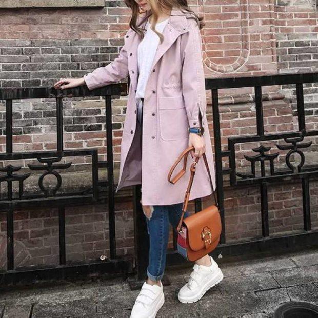 мода весна лето 2018 для женщин после 30: грязно-розовое пальто