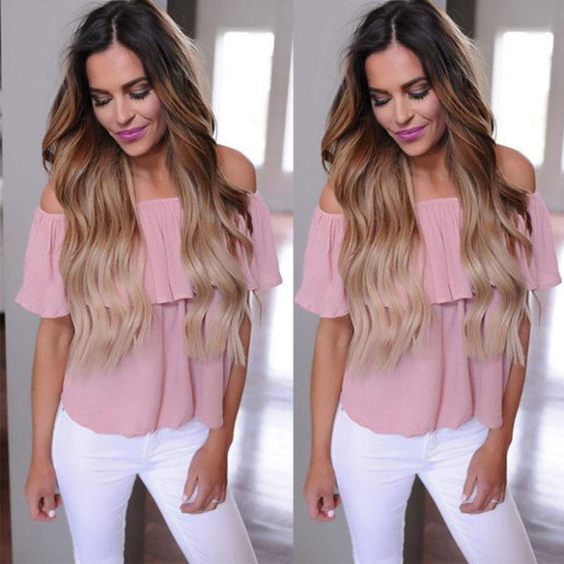 мода весна лето 2018 для женщин 30 лет: блузка розовая с рюшами