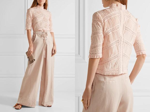 мода весна лето 2018 для женщин 30 лет: бежевые широкие брюки под блузку в тон