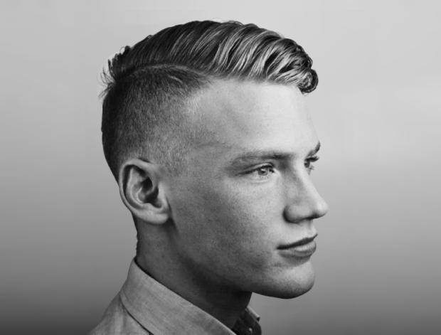 мужские стрижки 2018 2019 модные фото: с выбритыми висками макушка уложена вправо