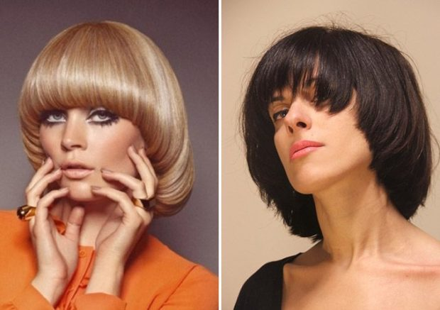 модная стрижка: паж на среднюю длину волос с ровной челкой
