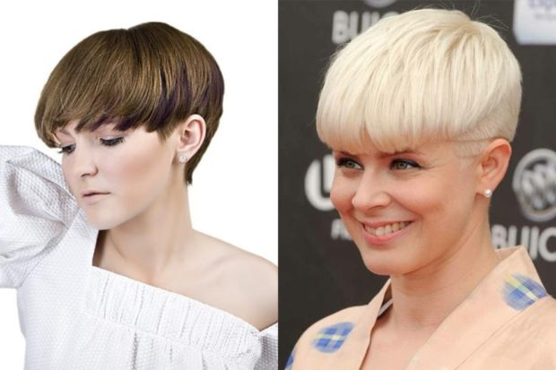 модные стрижки 2019 2020 фото: шапочка на короткие волосы с ровной челкой